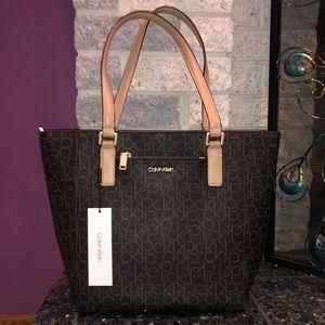 Calvin Klein Tote Logo Handbag in Brown